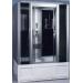 OSK-8665 Душевая кабина 150*85*215 черная (черное стекло, черные задние стенки, массаж стоп, дозатор для мыла, литое сиденье, слив-перелив, акриловая панель, высокий поддон)